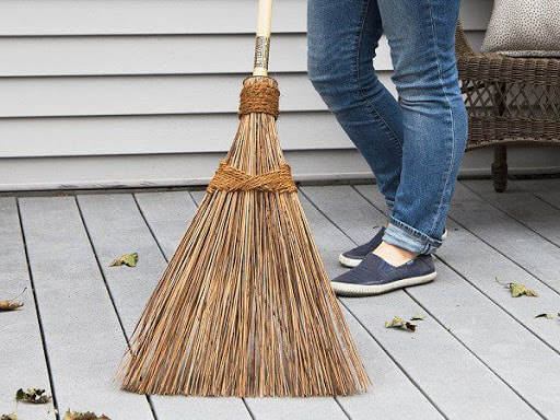 Sweeping pollen, debris leaves off of sidewalk, patios etc.  Cleaning up drive after mulch, dirt, rocks have been delivered.  Keep a dedicated outdoor broom; use a separate, softer broom for indoors.